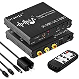 Digital to Analog Audio Converter with Remote, 192KHz DAC Converter with Volume Control&Bass Adjustment, DAC Box with Optical/Coaxial/Spdif Input and RCA 3.5mm Output Compatible with TV/PS4/DVD