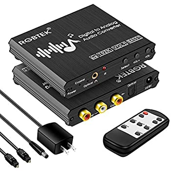 Digital to Analog Audio Converter with Remote 192KHz DAC Converter with Volume Control&Bass Adjustment DAC Box with Optical/Coaxial/Spdif Input and RCA 3.5mm Output Compatible with TV/PS4/DVD