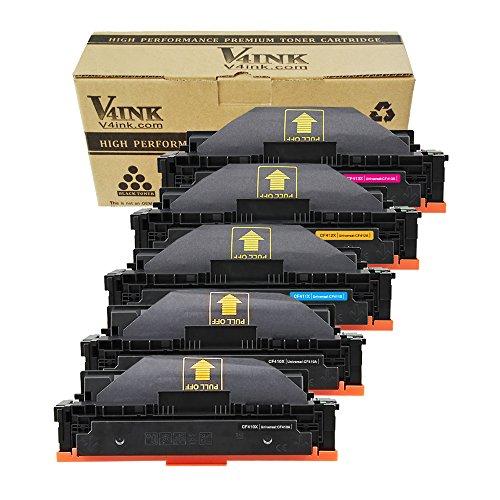 V4INK New Compatible 410X CF410X CF411X CF412X CF413X High Yield Toner Cartridge for HP Color LaserJet Pro M452dn M452nw M452dw,MFP M477fdn M477fdw M477fnw (5 Pack-2 Black/Cyan/Yellow/Magenta)