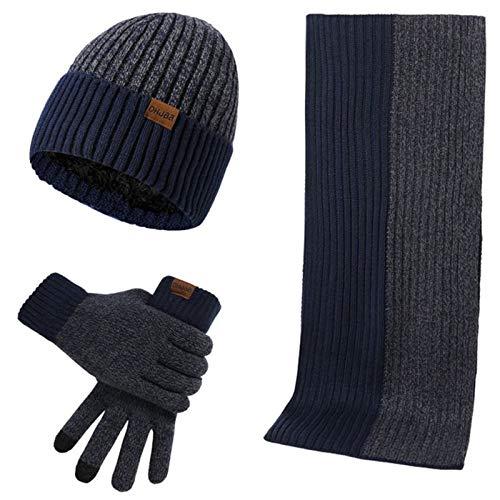 caralin Conjunto de 3 peças/conjunto masculino e feminino outono inverno dupla face cor correspondente cachecol chapéu luva