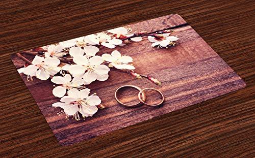 ABAKUHAUS Bruiloft Placemat Set van 4, Bloemen Rings Houten, Wasbare Stoffen Placemat voor Eettafel, Bruin en wit