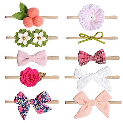 COUXILY Cintas Pelo Bebe Niña 10 Pcs Multicolor Suave Elásticas Diademas Bebe Niña Recien Nacida Turbantes Para Bebe Niñas (C)