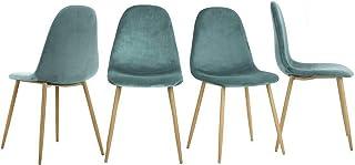 Yata Home – Juego de 4 sillas de 44 x 44 x 87 cm color antracita estilo escandinavo terciopelo patas de metal aspecto...