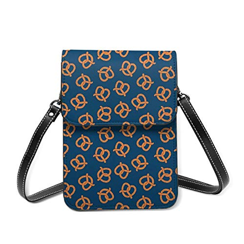 Bolsa para teléfono celular de pretzels de color azul marino ligero para mujer, bolsillos espaciosos