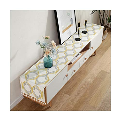 Cenliva Coffee Table Cloth, Table Runner Uk Polyester Yellow Table Runner Geometry 35X180cm 14X70in