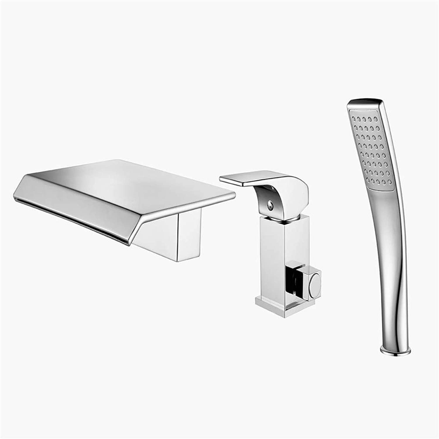 JIANGYE Luxury waterfall Bathroom Bath Taps with Shower Attachment Hot and cold water Mixers Polished Chrome Brass Bath and Shower Taps three piece