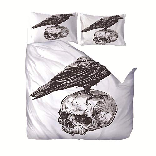 Duvet Cover Set King bed(86.6x94.5 inch) Black white skull and bird Bedding Printed Ultra Soft Hypoallergenic Microfiber with Zipper Closure + 2 Pillowcases 20x29.5 inch