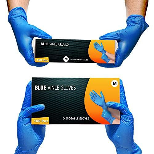 Guanti multiuso in vinile, senza polvere, usa e getta, extra resistenti, confezione da 100 pezzi, blu