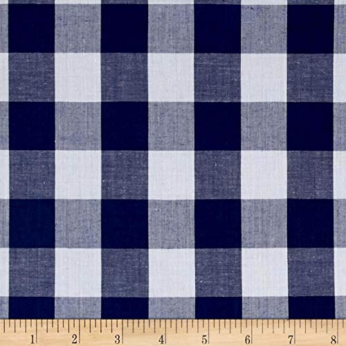"""Richcheck 60"""" Gingham Check 1"""" Navy, Fabric by the Yard"""