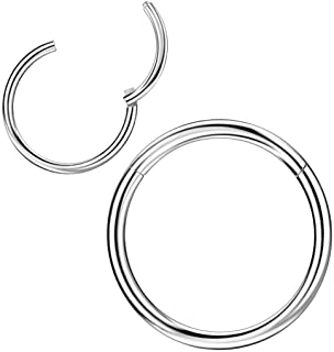Surgical Steel Piercing Rings for Nose Septum Cartilage Helix Tragus Conch Rook Daith Lobe 20g-18g-16g-14g-12g-10g 5mm-6mm...