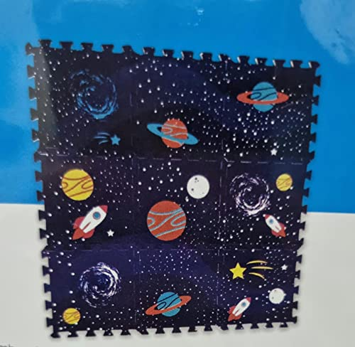 Tappeto in gomma puzzle, per camera da letto, protezione per pavimenti per bambini, 9 pezzi, in schiuma intrecciata, multicolore, unisex, Eva, 31,5 cm, per bambini e bambine