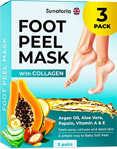 Foot Peel Mask - 2021 Dermatologically Tested - 3 Pack (Pairs) Exfoliating Foot Mask - Makes Feet Baby Soft by Peeling away Calluses & Dead Skin Remover by SUNATORIA - 2021 Updated Formula & Design