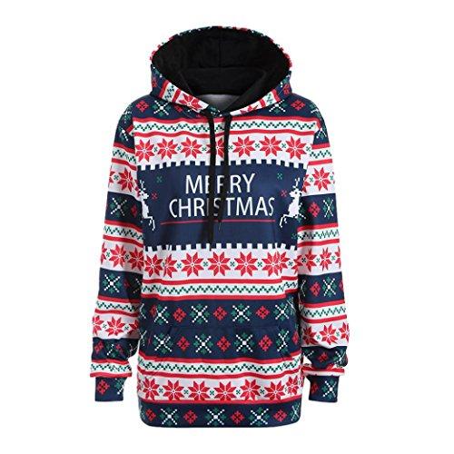 TWIFER Frohe Weihnachten Damen Weihnachtsmann Kapuzen Pullover Sweatshirt Bluse T-Shirt (XL, Blau)