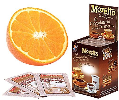 Cioccolata calda in tazza - MORETTO - gusto CIOCCOLATO e ARANCIA - 1 scatola con 12 bustine