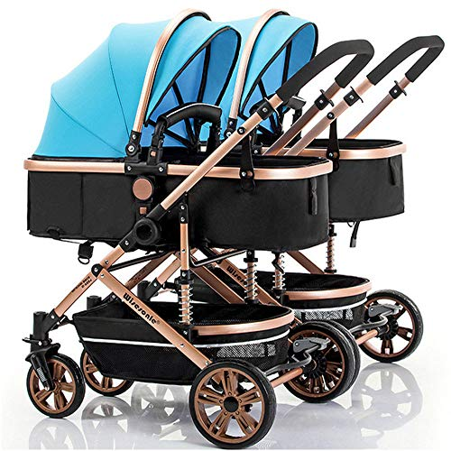 Cheap BO LU Double Strollers Double Seats for Twins Foldable Can Sit and Lie with Awning Adjustable ...