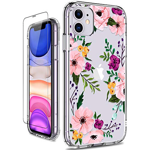 GiiKa iPhone 11 Case with Screen Protector, Clear Heavy Duty Protective Case Floral Girls Women Shockproof Hard PC Back Case with Slim TPU Bumper Cover Phone Case for iPhone 11, Small Flowers