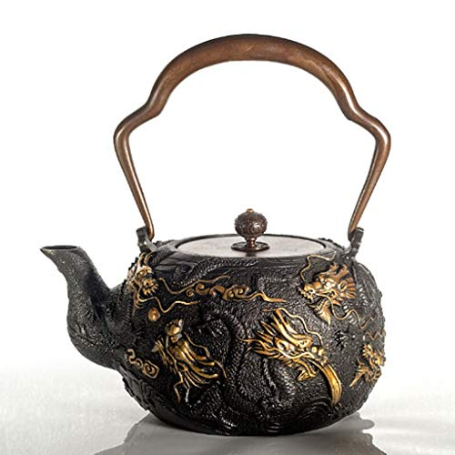 1.3L Cast Iron Teapot Black Japanese Tea Kettle with Copper Lid Healthy Cast Iron Teapot Handmade Chinese Collection Health Gift