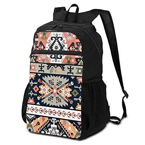 Backpacks,Mochila Antipolvo Plegable Floral Azteca Étnica Tribal Maya Navajo, Bonita Bolsa De...