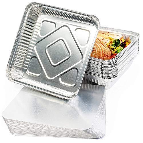 25 Bandejas de Aluminio Desechables con Tapas, 24 x 24 cm - Perfecto para Hornear, Asar y Cocinar - Seguro de Usar en Horno e Impermeable.