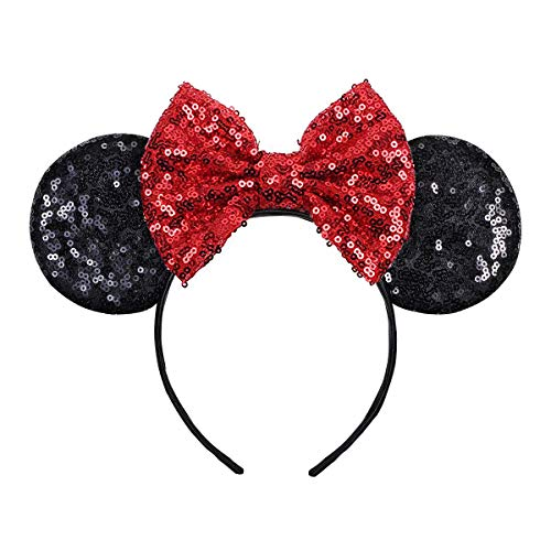 FANYITY Mouse Ears,Mice Sequin Ears Headbands for Boys Girls Women Cosplay Costume Princess Party Birthday Christmas Party Decorations (Red Black)