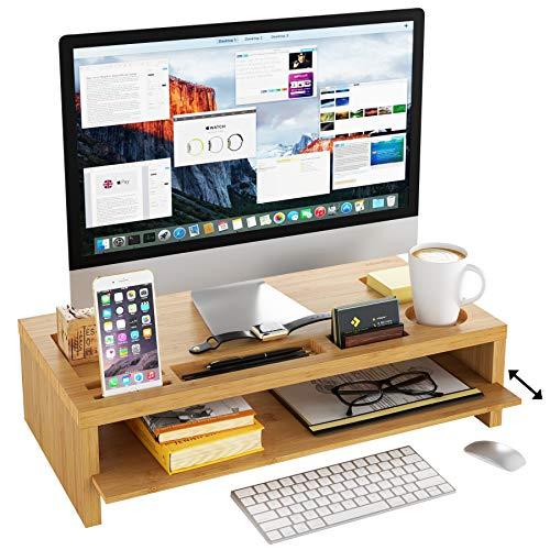 Homfa Bildschirmständer aus Bambus Stauraum von Zwei Schichten für Monitorständer Bildschirmerhöhung mit Abnehmbarer Platte als Schreibtisch Organizer 60x30x15cm