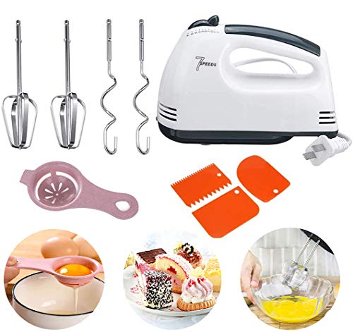 Hand Mixer Electric,7-Speed Hand Mixer Electric with Turbo Handheld Kitchen Mixer Electeic Beaters and 8 Attachments (Beaters, Dough Hooks, and Whisk,Egg Separator,Cake Scraper)