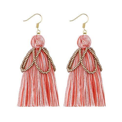JFHGNJ Samen Perlen Hula Art Deco Baumwolle Quaste Ohrringe für Frauen Trendy Fringe Ohrringe Weihnachten-Rosa_0
