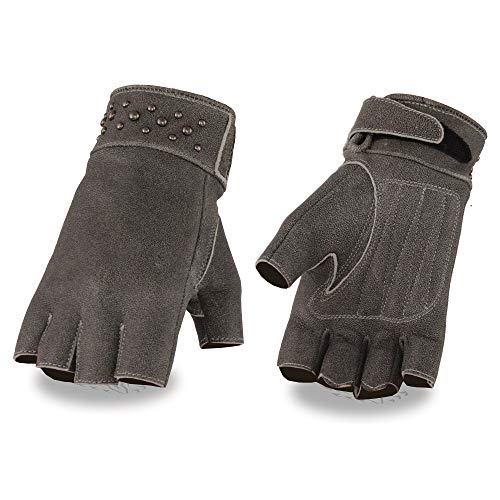 Milwaukee Leather MG7761 Ladies Fingerless Distressed Gray Leather Gloves with Gel Palms - Small