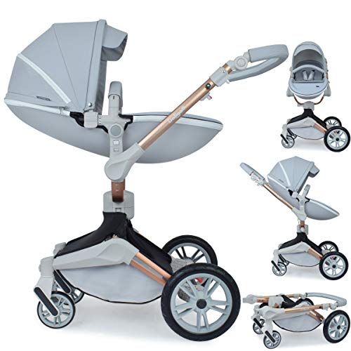 Daliya ® 2in1 360° Turniyo Kinderwagen Kombikinderwagen Buggy mit Babywanne & Sportsitz, inklusive Babyschalen-Adapter, Aluminium Rahmen (2in1, Grau)
