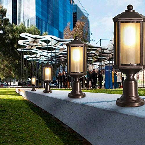 Luz de Pared Lámpara de Pared Aplique Luz de Soporte de Luz Exterior Impermeable Pilares Luz de Poste Aluminio Fundido a Presión E27 Luces de Poste Exterior a Prueba de Lluvia Óxido Barandilla de Met