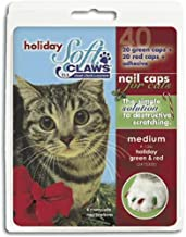 Soft Claws for Cats, Size Medium, Color Holiday (Red & Green)