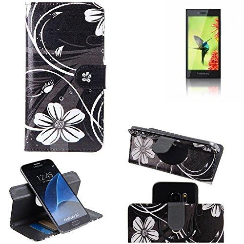 K-S-Trade Schutzhülle Für BlackBerry Leap Hülle 360° Wallet Hülle Schutz Hülle ''Flowers'' Smartphone Flip Cover Flipstyle Tasche Handyhülle Schwarz-weiß 1x