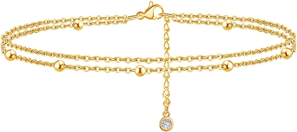 18K Gold Chicago Mall Plated Anklets for Women Pearl Layered Girls Bead Popularity Star