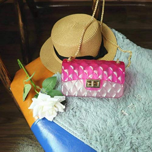 ERFHJ Vrouwen Regenboog Jelly Bag Clear Crossbody Tote Handtas Messenger Schouder Transparant Plaid Jelly Chain Cross Body Bags