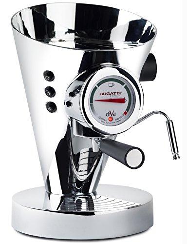 BUGATTI, DIVA EVOLUTION Espressomaschine Kaffee- und Cappuccinomaschine für gemahlenen Kaffee und Kapseln, Non-Stop Dampffunktion, 15 bar, 950 W, Fassungsvermögen 0,8 Liter, edles Design (Chrom)