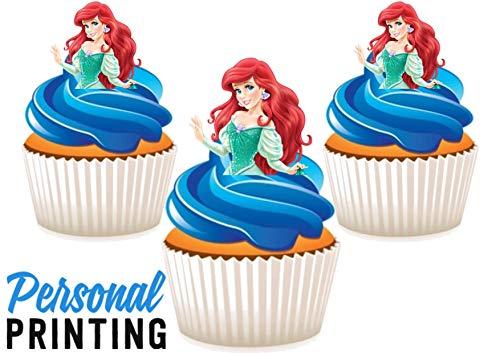PP - Ariel De Kleine Zeemeermin, Half Princess Taart Topper Mix 12 Eetbare Stand up Premium Wafer Card Taart Toppers Decoraties