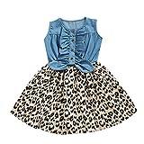 FBGood Kinder Spielanzug Sommer Baby Kleinkind Overall Strampler Ärmellos Denim Leopard Gedruckt Prinzessin Kleid Neugeborenes Bodysuit