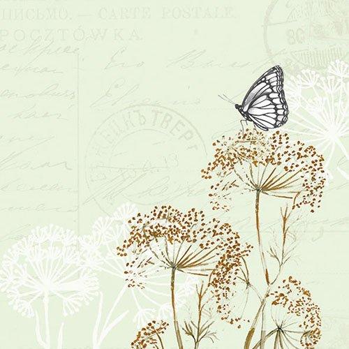 Ambiente tovaglioli di Carta – Tovaglioli Lunch/Party/ca. 33 x 33 cm Butterfly Branches Green – Farfalla – Ideale Come Regalo e Decorazione da Tavolo.
