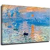 Pintura al óleo de la salida del sol de Claude Monet cuadro de reproducción de pintura en lienzo enmarcado arte de la pared decoración del hogar estilo unframe-1 50 x 75 cm