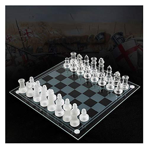 Jiji Schach K9 Glass Chess Elegantes Schachspiel Medium Wrestling Packaging International Chess Set Glasbrett Schachspiel Schachspiel Magnetisch (Größe : A)