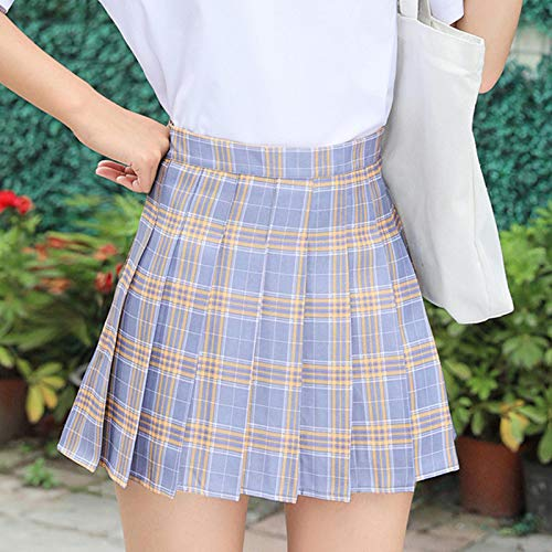 Kilts Skirt Women Pleat Skirt High Waist Striped Plaid Mini Skirts Lining Shorts Sexy Bar Student Dance Skirt M Yellow2