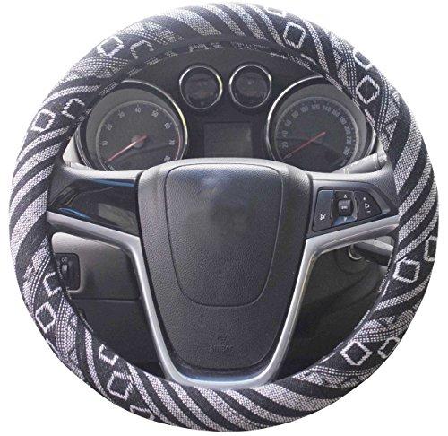 Istn - Funda para volante de coche de tela de lino grueso, antideslizante y absorción de sudor, diseño étnico