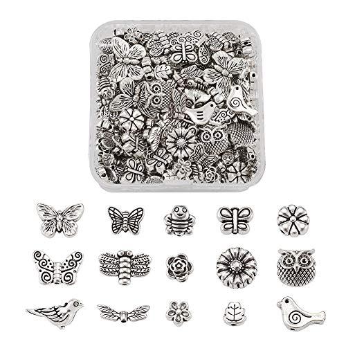 Beadthoven - 150 cuentas de plata tibetana con diseño de mariposa, diseño de búho, abejas, abejas, cuentas sueltas con agujero de 1 a 2 mm para hacer manualidades