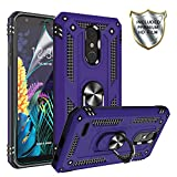 Gritup LG K30(X410) Case, LG K10 2018/Harmony 2/Phoenix Plus/Premier Pro LTE Cases with HD Screen Protector, 360 Degree Rotating Metal Ring Holder Kickstand Cover Phone Case for LG K30 Purple