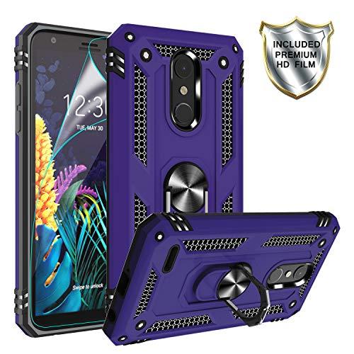 LG K30 (X410) Hülle, LG K10 2018/Harmony 2/Phoenix Plus/Premier Pro LTE Hülle mit HD-Bildschirmschutzfolie, Gritup 360 Grad drehbarer Metallring Kickstand Cover Handyhülle für LG K30 lila