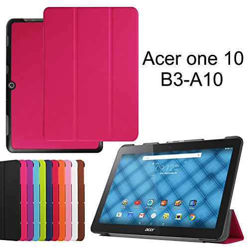 LOOCOO Housse Acer Iconia One 10 B3-A10, Ultra Slim étui Housse en Cuir Coque Smart Cover Case pour Acer Iconia One 10 B3-A10, Rose Vif