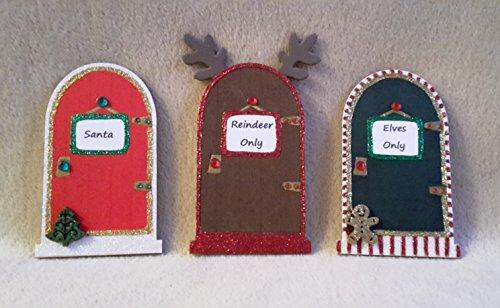 Handpainted Elf, Santa, Reindeer Door 3 x Christmas Fairy Door Set