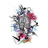 Justfox – Tatuaje temporal, diseño de jaula de pájaros, diseño de flores, tatuaje adhesivo temporal, arte corporal