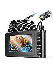 YINAMA Endoscopio de Doble Lente, Borescopio de 1080P HD 4.3 Pulgadas, Cámara de Inspección IP67 a Prueba De Agua, con 6 Luces LED, Cable Semirrígido, Tarjeta TF de 32G y Herramienta (129D-10m)