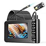 Dual Lens Endoscope,YINAMA 1080P 33FT Industrial Borescope Inspection Snake Camera with 32GB Card,Waterproof Semi-Rigid Cable,4.3 Inches Display Screen,6 LED Lights